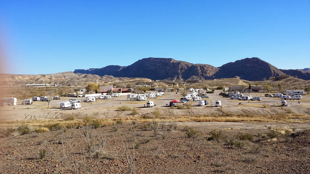 Overview of 'Casitas in Lajitas' and Maverick Ranch RV Park. Photo by Jim Tuvell. (Some Casita attendees absent for this picture.)