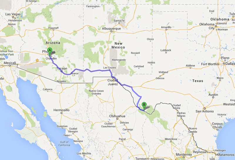 From Phoenix AZ, it's 720 miles or a 12-hour drive (towing a trailer) to Lajitas TX. I made it in two days, overnighting in El Paso TX.