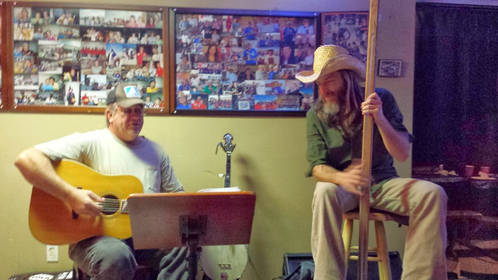 "The ""band"" at Long Draw Pizza in Terlingua, TX.  Fellow on the right is Mark Dean Kneeskern, author of ""The Last American Hitch-Hiker - Tales of Wander"" (Photo and caption by Jim Tuvell)"