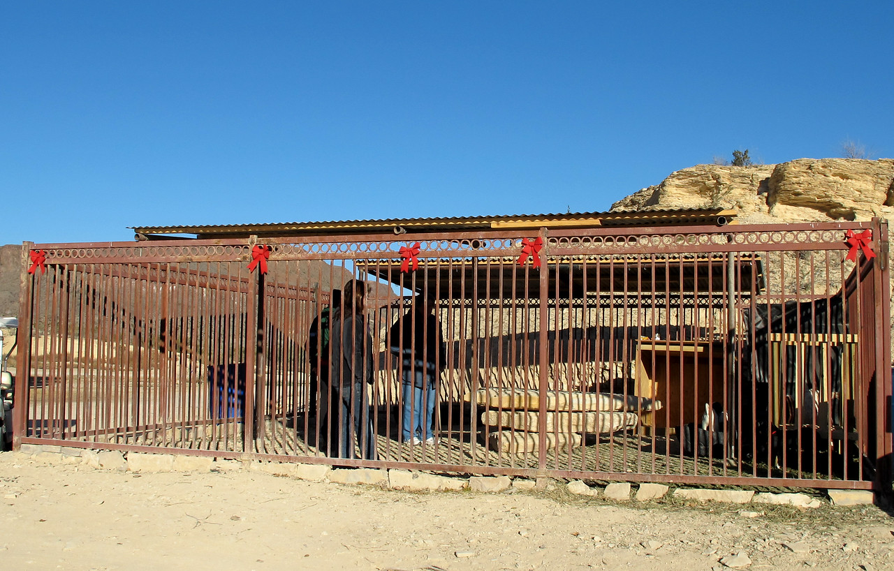 The goats' pen.