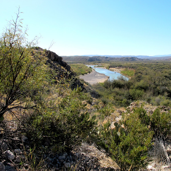 The Rio Grande, Bouquillas Canyon, Big Bend NP. Solo friend Mark Watson and I hiked down to the river.