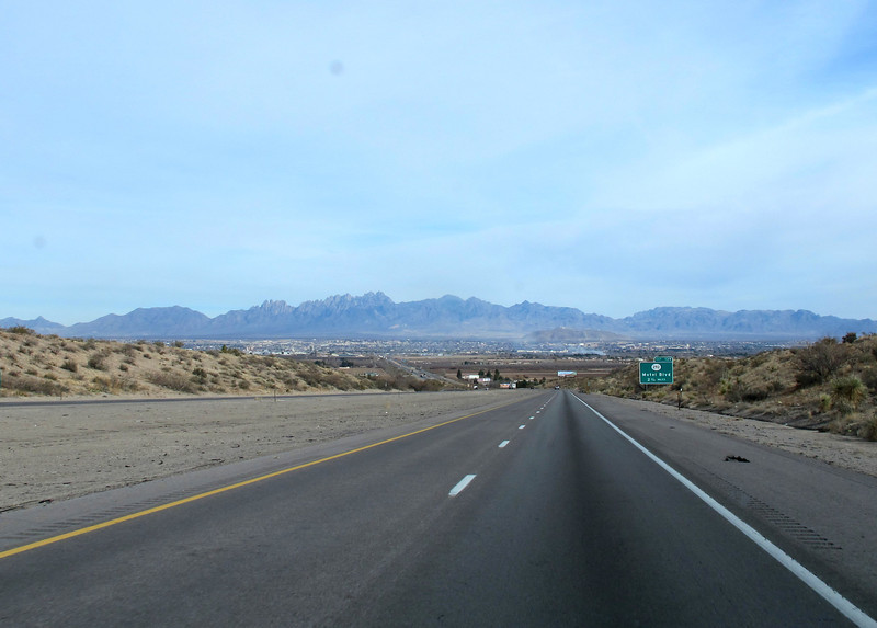 Las Cruces TX ~ Approaching from the west. Impressive mountain range. (UPDATE: This mountain range recently became a National Monument!)