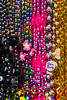 Closeup of Mardi Gras beads for the parade in Galveston, Texas, USA.