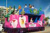 Mardi Gras revellers in the parade in Galveston, Texas, USA.