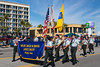 The Milby High School Army marching band in the Mardi Gras parade in Galveston, Texas, USA.