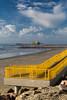 Beach access on the Gulf of Mexico seawall in Galveston, Texas, USA.