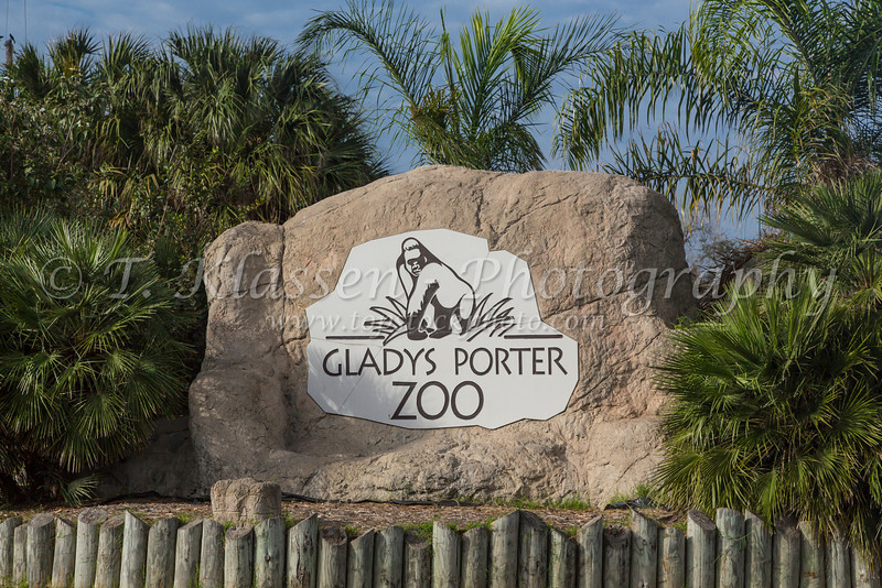 The Gladys Porter Zoo sign in Brownsville, Texas, USA.