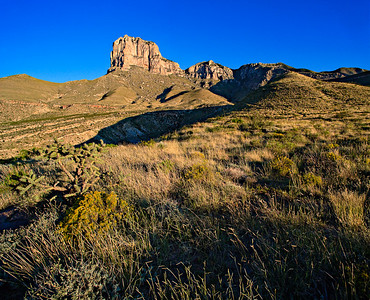 El Capitan rises from the Guadalupe mountain front 3 vertical image stitch