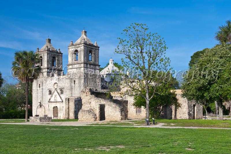 The Mission Concepcion building exterior facade in San Antonio, Texas, USA.