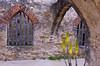 The San Jose Mission interior arches and decor near San Antonio, Texas, USA.
