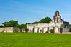 The chapel exterior of Mission San Juan Capistrano in San Antonio, Texas, USA.