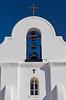 The San Elizario Presidio chapel bell tower in the desert near El Paso, Texas, USA.