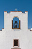The restored Socorro Mission bell tower, located in the desert near El Paso, Texas, USA.