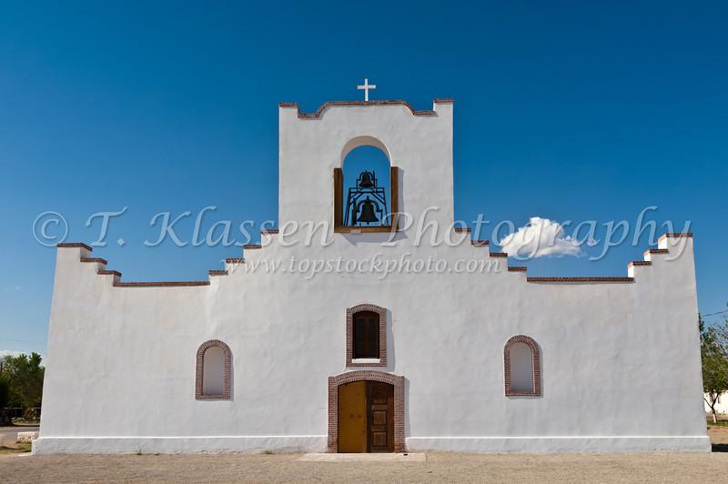 The restored Socorro Mission in the desert near El Paso, Texas, USA.