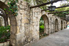 The Alamo walls and arches in San Antonio, Texas, USA.