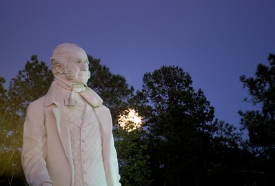 Moon glow and Sam Houston statue