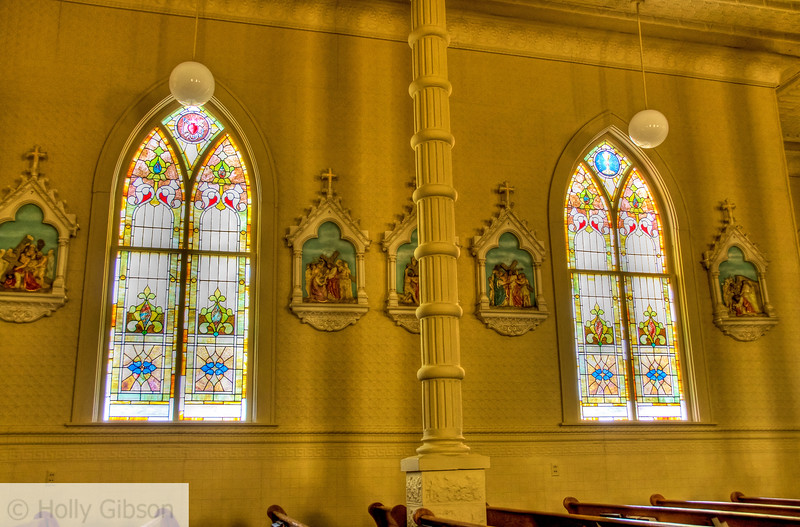 Interiors of two churches near Scotland, Texas