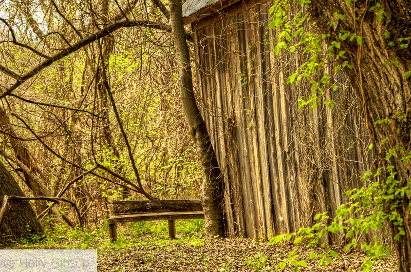 Old barn and bench on back roads