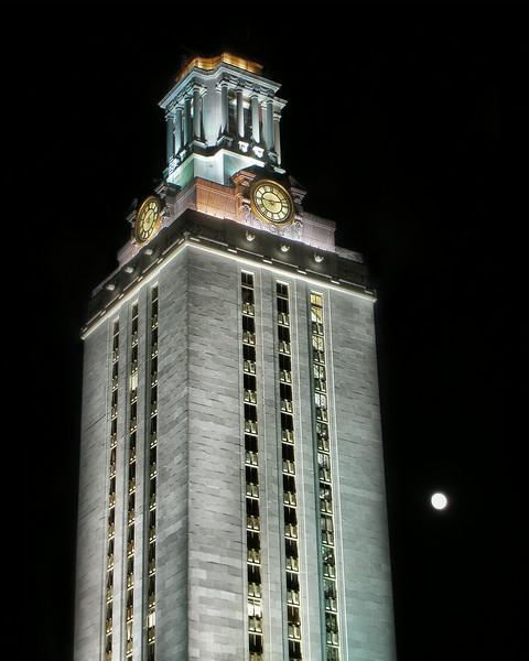 UT Tower and Moon, no border
