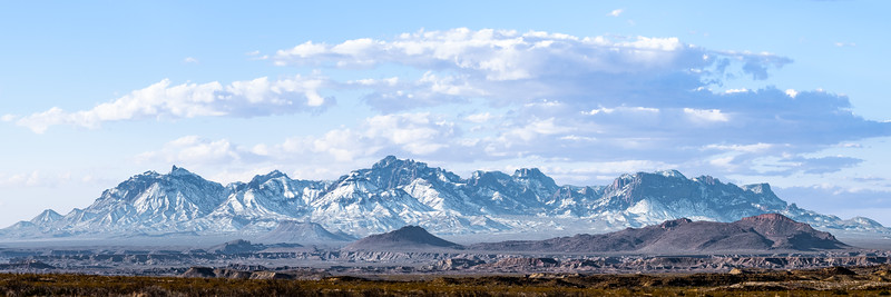 Chisos Mountains in the Snow - Panorama