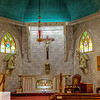 Interiors of two churches near Scotland, Texas