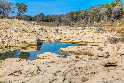 Dry part of Blanco River, Valley View Road, Wimberley, Texas