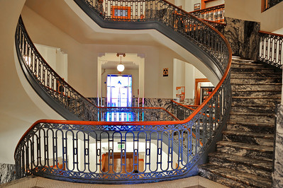 Courthouse Interior; Wrought Iron Staircase