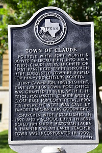 Texas Historical Commission Marker; Town of Claude