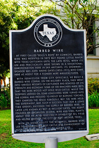 Texas Historical Commission Marker:  Barbed Wire