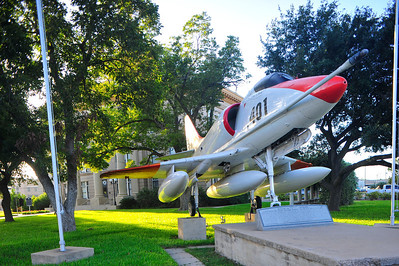 US Navy A4 Skyhawk in front of the Courthouse