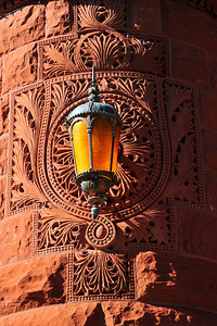 Exterior Details:  Lamp and Carved Sandstone