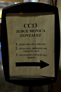 Interior Details:  Sign Informing Court Attendees