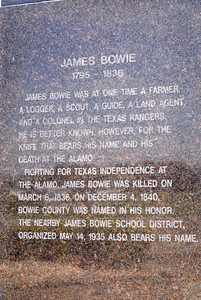 James Bowie Statue Instription