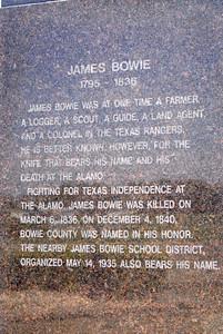 James Bowie Statue Instription