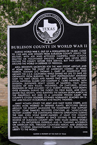 Texas Historical Commission Marker:  Burleson County in World War II