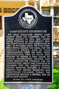 Texas Historical Commission Marker:  Camp County Courthouse