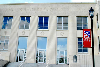 Front Facade and Name on the Chambers County Courthouse;  Anahuac,, Texas