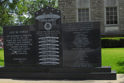 Cherokee County Peace Officers Memorial on the Courthouse Grounds