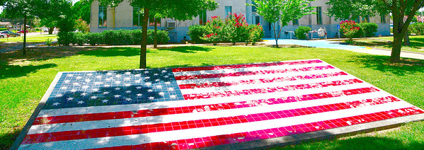 Old Glory in Ceramic Tile on the Courthouse Grounds