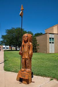 Wooden Indian on the GGrounds of the Cochran County Courthouse:  Morton, Texas