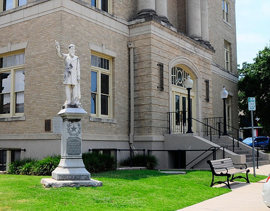 Statue of Throckmorton and Courthouse
