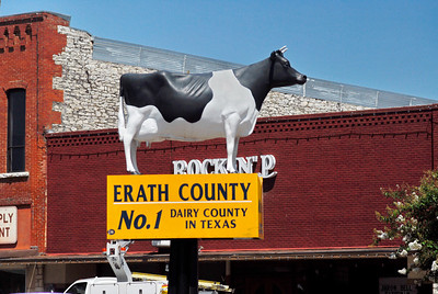 "Erath County Courthouse, Stephenville, Texas  Moo-La is the name of the fiberglass Holstein cow statue in the center of Stephenville. Erath County is the ""No. 1 Dairy County in Texas""  and she is a tribute to the local dairy industry."