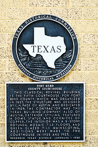 Fort Bend County Courthouse, Richmond, Texas Texas Historical Commission marker