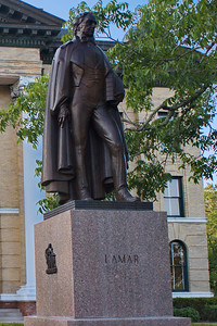 Fort Bend County Courthouse, Richmond, Texas Statue of Mirabeau Lamar in front of the courthouse