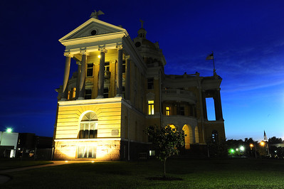 Harrison County Courthouse, Marshall, Texas West side dusk