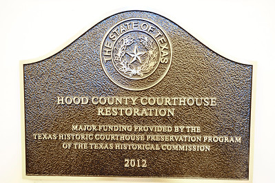 Hood County Courthouse, Granbury, Texas  Texas Historic Courthouse Restoration Program Plaque