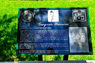 Memorial to Gregorio Barrera, survivor of the Bataan Death March Starr County Courthouse, Rio Grande City, TX
