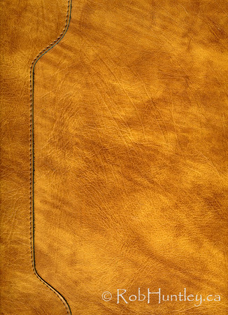 Scanned image of a portion of a yellow and tan leather briefcase. © Rob Huntley