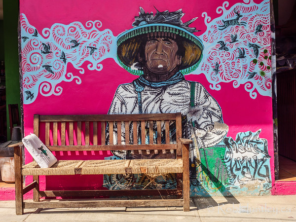 Bench and mural.