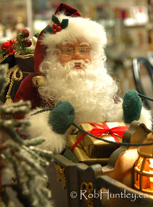 Santa in a shop window. Louise's Belgian Chocolates shop in the community of Westboro in Ottawa, Ontario.  © Rob Huntley